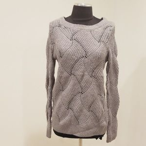 Lauren Conrad Size XS Grey Wave Wool Blend Sweater